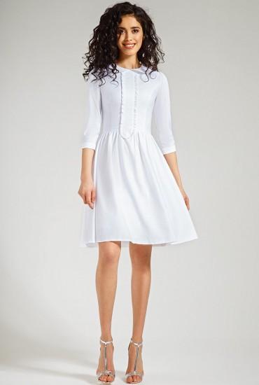 Белое платье с воротничком М-534