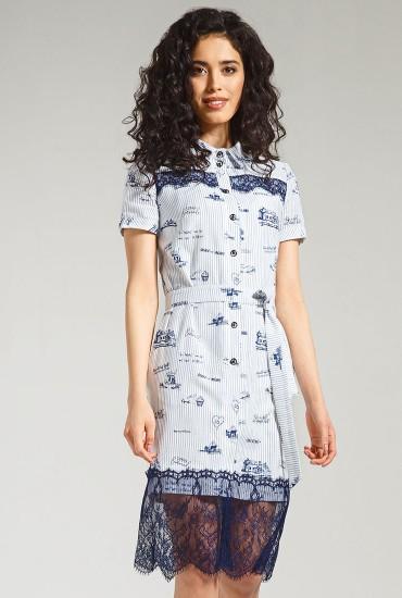 Платье с французским кружевом М-839